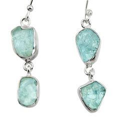 12.52cts natural aqua aquamarine rough 925 silver dangle earrings r16848