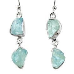 925 silver 12.96cts natural aqua aquamarine rough dangle earrings jewelry r16849