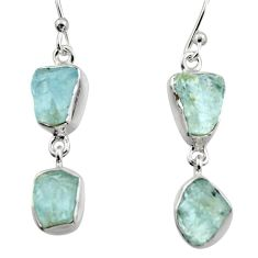 11.07cts natural aqua aquamarine rough 925 silver dangle earrings r16850