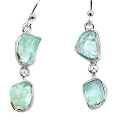 12.52cts natural aqua aquamarine rough 925 silver dangle earrings r16851