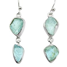 925 silver 12.03cts natural aqua aquamarine rough dangle earrings jewelry r16852