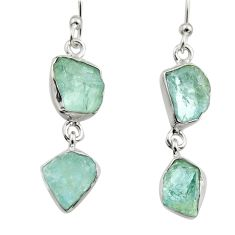 12.06cts natural aqua aquamarine rough 925 silver dangle earrings r16853
