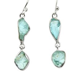 11.57cts natural aqua aquamarine rough 925 silver dangle earrings r16854