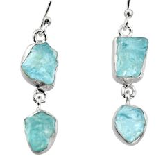 925 silver 12.06cts natural aqua aquamarine rough dangle earrings r16855