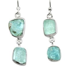 12.52cts natural aqua aquamarine rough 925 silver dangle earrings r16856