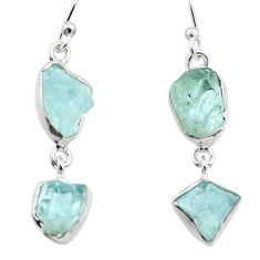 12.96cts natural aqua aquamarine rough 925 silver dangle earrings r16857
