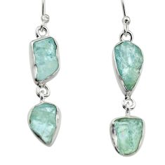 925 silver 12.91cts natural aqua aquamarine rough dangle earrings r16858