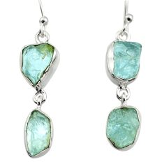 12.78cts natural aqua aquamarine rough 925 silver dangle earrings r16859