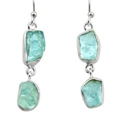 12.96cts natural aqua aquamarine rough 925 silver dangle earrings r16860