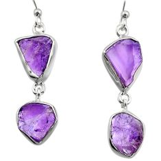 13.77cts natural purple amethyst rough 925 sterling silver earrings r16862