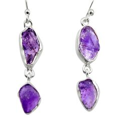 12.03cts natural purple amethyst rough 925 sterling silver earrings r16863