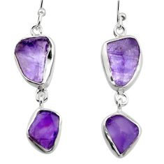 925 sterling silver 13.77cts natural purple amethyst rough earrings r16864