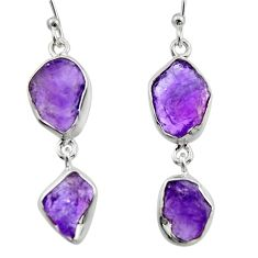 12.91cts natural purple amethyst rough 925 sterling silver earrings r16865