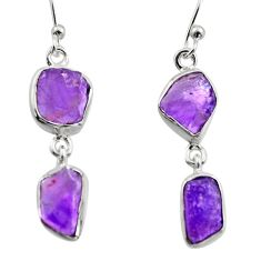 12.50cts natural purple amethyst rough 925 sterling silver earrings r16868