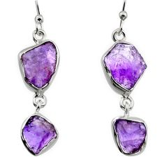 12.41cts natural purple amethyst rough 925 sterling silver earrings r16869