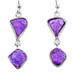 12.52cts natural purple amethyst rough 925 sterling silver earrings r16872