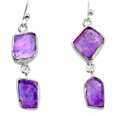 13.27cts natural purple amethyst rough 925 sterling silver earrings r16873