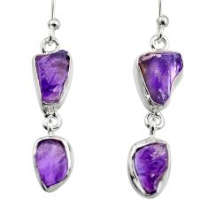 925 sterling silver 11.64cts natural purple amethyst rough earrings r16877
