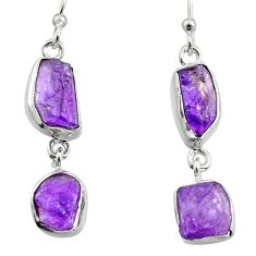 12.43cts natural purple amethyst rough 925 sterling silver earrings r16879