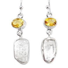 13.55cts natural white herkimer diamond 925 silver dangle earrings r69619
