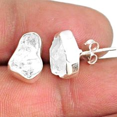 6.19cts natural white herkimer diamond 925 sterling silver earrings r69673