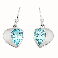 4.24cts natural blue topaz 925 sterling silver dangle earrings jewelry r7002