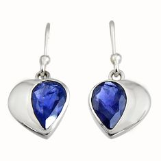 4.21cts natural blue iolite 925 sterling silver dangle earrings jewelry r7003