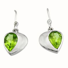 925 sterling silver 4.24cts natural green peridot dangle earrings jewelry r7004