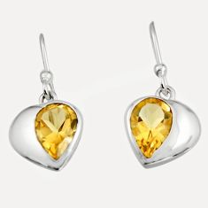 4.24cts natural yellow citrine 925 sterling silver dangle earrings jewelry r7006