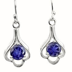 925 sterling silver 4.89cts natural blue iolite dangle earrings jewelry r7012