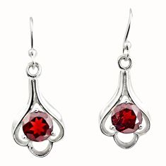 925 sterling silver 5.12cts natural red garnet dangle earrings jewelry r7015