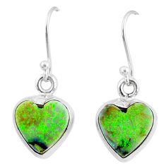 6.21cts multi color sterling opal 925 sterling silver heart earrings r70182