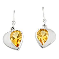 925 sterling silver 4.24cts natural yellow citrine heart earrings jewelry r7024