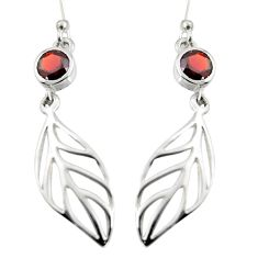 1.81cts natural red garnet 925 silver dangle leaf charm earrings jewelry r7028