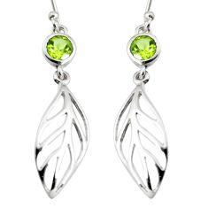 1.96cts natural green peridot 925 silver dangle leaf charm earrings r7029