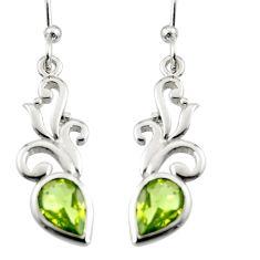 3.42cts natural green peridot 925 silver dangle earrings jewelry r7030