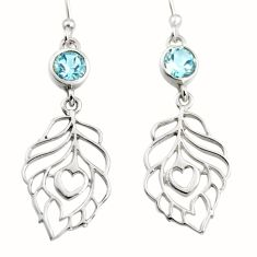 1.94cts natural blue topaz 925 silver dangle feather charm earrings r7033