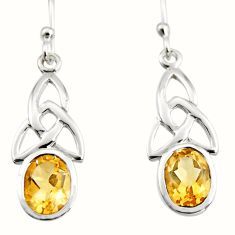 925 sterling silver 3.80cts natural yellow citrine dangle earrings jewelry r7040