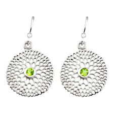 0.64cts natural green peridot 925 sterling silver dangle earrings jewelry r7045