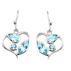 6.22cts natural blue topaz 925 sterling silver dangle heart earrings r7050