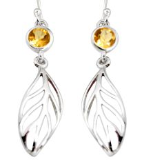 1.96cts natural yellow citrine 925 silver dangle feather charm earrings r7052