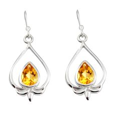 4.22cts natural yellow citrine 925 sterling silver dangle heart earrings r7058
