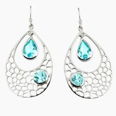 7.58cts natural blue topaz 925 sterling silver dangle earrings jewelry r7084