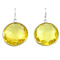 33.00cts natural lemon topaz 925 sterling silver dangle earrings jewelry r7089
