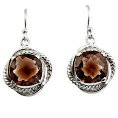 925 sterling silver 10.89cts brown smoky topaz dangle earrings jewelry r7097
