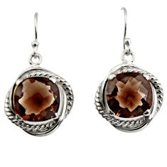 10.89cts brown smoky topaz 925 sterling silver dangle earrings jewelry r7099