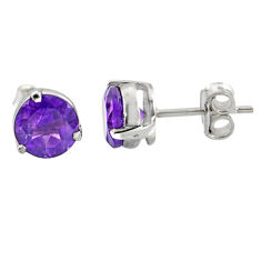 4.97cts natural purple amethyst 925 sterling silver stud earrings jewelry r7101