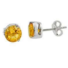 5.04cts natural yellow citrine 925 sterling silver stud earrings jewelry r7106