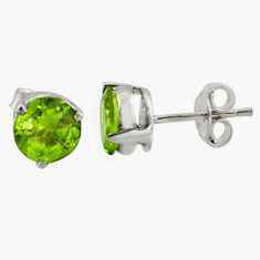 5.04cts natural green peridot 925 sterling silver stud earrings jewelry r7113
