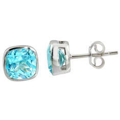 5.04cts natural blue topaz 925 sterling silver stud earrings jewelry r7117